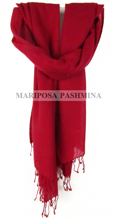 REAL PASHMINA - CASHMERE SHAWL - 100% cashmere - RED